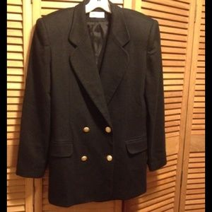 Private Concept Classy Navy Blue Wool Blazer